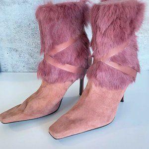 women's nine west dusty pink suede leather boots b
